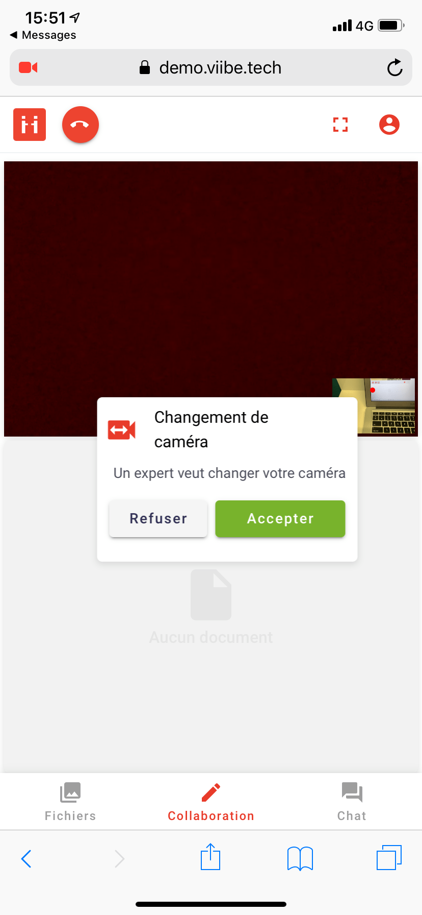 Other user must accept to switch cameras during the ViiBE call