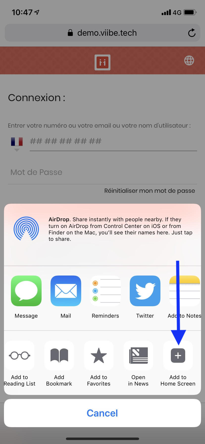 Créer un raccourci vers votre page d'accueil ViiBE à partir d'une plateforme iOS